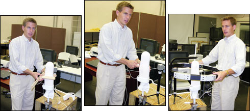 Geil works with Georgia State Graduate students to verify consistent landmark measurement of a transtibial residual limb model using (left-right) traditional calipers, an electromagnetic field-based position sensor, and an optoelectronic CAD system. Photo by Wat Limroon.