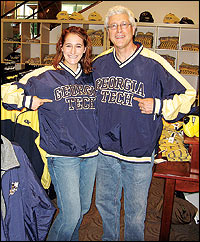 Chelan and her father at the Georgia Tech bookstore
