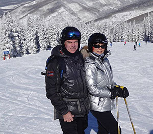 Ralph Hooper and wife skiing